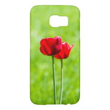 Two red tulip flowers samsung galaxy s6 cases