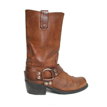 Vintage Womens Motorcycle Boot - Brown Harness Boots - Sonora - Leather Biker Boots - Size 8 - Biker Boot - Boho Bohemian - Moto Boot