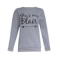 "Fashion  Long Sleeve Best Friends T shirt Women Clothes""She's My Serena,She's My Blair"" Print Tops For Girlfriends SM6"