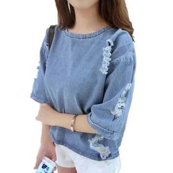 Fashion Women Summer/Spring Ripped Hole Denim Short Sleeve Loose Top Femme Casual Tee Shirt Round Neck T-shirt Tumblr TT2901