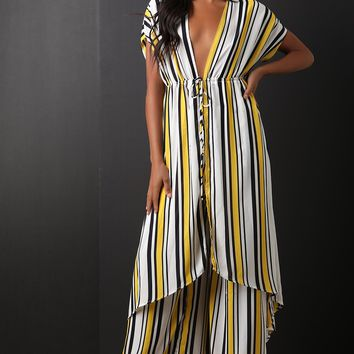 Striped High Low Top With Palazzo Pants Set