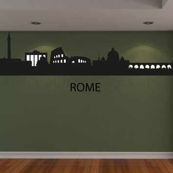 Rome cityscape skyline vinyl wall decal, home decor, wall graphic, decal, typography, vinyl decal, wall sticker, wall art