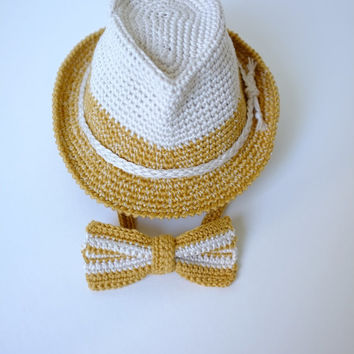 Baby Toddler Fedora Hat and Bow Tie Set Newborn Photography Props Baby Boy Shower Gift  Crochet Cotton Baby Summer Hat Cute Hats by Mila