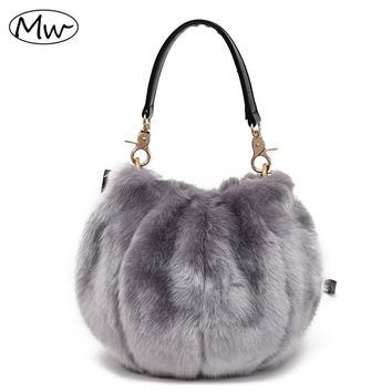 Moon Wood 2017 Winter Soft Faux Fur Bag Small Women Fur Tote Bag Warm Plush Handbag Ladies Crossbody Shoulder Bag 9 Colors CG21