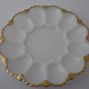 Deviled Egg Tray Scalloped Gold Rim Milk Glass Anchor Hocking c 1950s Estate