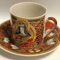 Vintage Satsuma Dragon Wear Moriage Kannon Goddess and Immortals Tea Cup and Saucer, Asian tea cup set  , Made in Japan