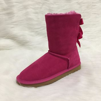 HOT Australian Style Ugs Women Snow Boots 2-Bow Back Winter Leather Boots Brand IVG Customize Color Acceptable With Gift!!!