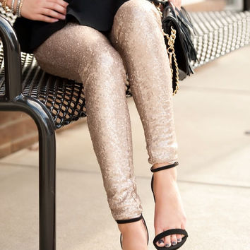 Sequin Leggings - Gold