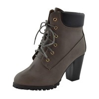 Womens Ankle Boots Rugged Lace Up High Heel Shoes Gray