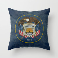 Utah State Flag - vintage version Throw Pillow by Bruce Stanfield