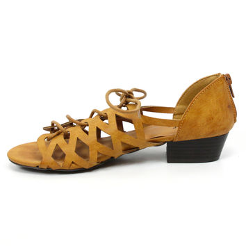 """Aloe"" Lattice Cut Lace Up Low Heel Sandals - Camel"