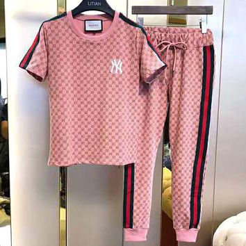 NY x GUCCI Joint Tide brand three-dimensional embroidery short-sleeved T-shirt + trousers set two-piece