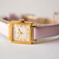 Square lady's watch, gold plated women wrist watch Ray, retro lady's watch minimalist, light rose textile\leather strap new