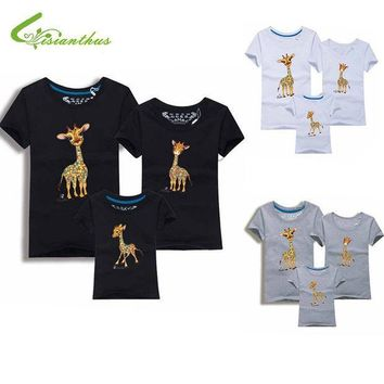 PEAPUNT Family Look Animals Giraffe T Shirts Summer Family Matching Clothes Father Mother Kids Outfits Cotton Tees Free Drop Shipping