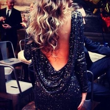 2014 New Fashion Glitter Major Halter Backless Sequin Dress Women Sexy Long Sleeve Backless Bodycon Party Dresses = 1667444228