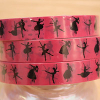 Dancer Ballerina Silhouette Deco Tape Adhesive Stickers -  DT194