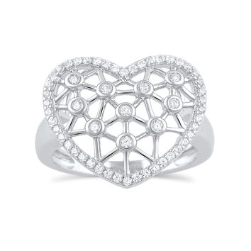 Sterling Silver Simulated Diamond Heart Statement Ring  16mm