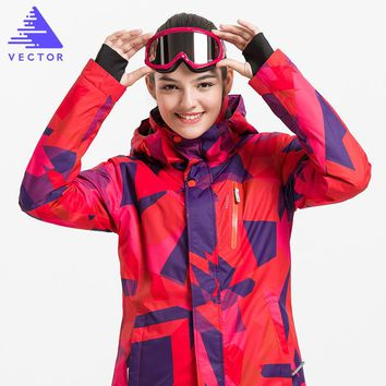VECTOR Professional Women Windproof Waterproof Ski Jacket Coats Winter Warm Outdoor Sport Snow Skiing Snowboarding Clothing
