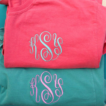 Monogrammed Comfort Color  Long Sleeve T'S