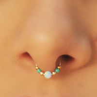 FAKE SEPTUM RING, Septum Ring, Fake Piercing , Fake Ring Nose, Gold Filled, Fire Opal