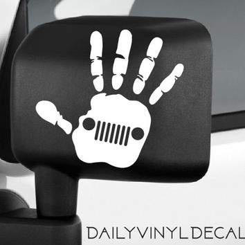 Jeep Wave Decal - Jeep Hand Decal Jeep Sticker - Jeep Decal - Jeep Wrangler Wave Car Truck Automotive Decal - Offroad Truck Decals Stickers