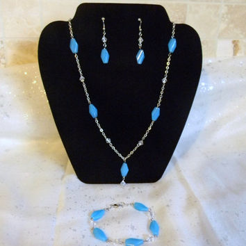 Sky Blue and Silver Chain Necklace, Earrings and Bracelet Set