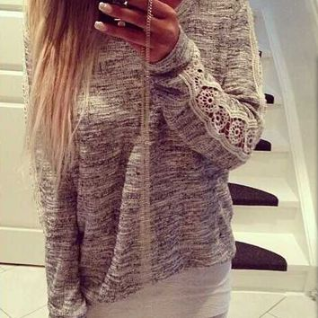 Lace Long-Sleeve  Knitted Shirt