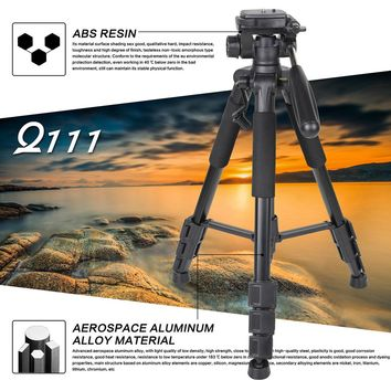 Professional Aluminum Alloy SLR Three Camera Folding Portable Tripod with Ball Head Bag Travel for DSLR Black Q111 Drop Shipping