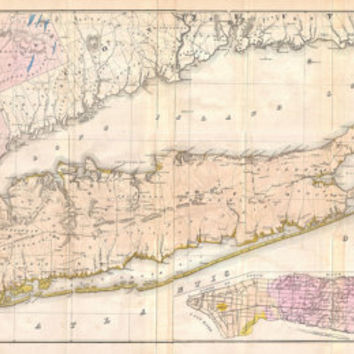 Vintage antique Print of Long Island Map on Photo Paper Matte Paper or Canvas Art Decor Giclee Nautical Art NY New York black white