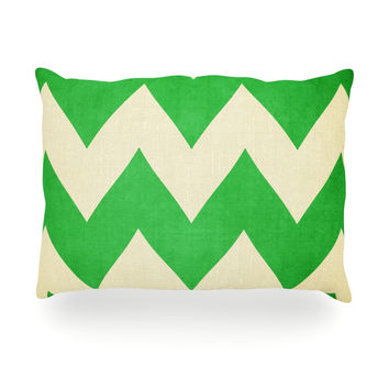 "Catherine McDonald ""Granny Smith"" Green Chevron Oblong Pillow"