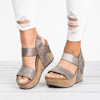 Double Band Platform Wedges