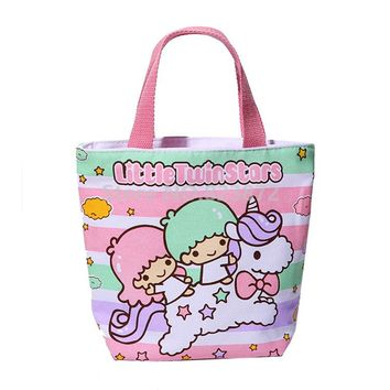 Cute Little Twin Stars Canvas Lunch Bag for Girls Women Mini Small Tote Lunch Box Bags Handbag Kawaii Cartoon Picnic Food Bag