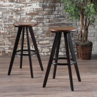 Byre Traditional Wood Finished Bar Stools (Set of 2)