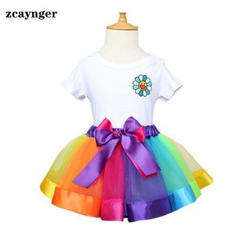 TUTU Skirt For Baby rainbow Children's Clothing Infant Skirt Baby 0-2 Year girls tulle skirts girl pleated Summer Clothes