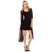 Red Plaid Chiffon Three-Quarter Sleeve Mid Dress with Slit