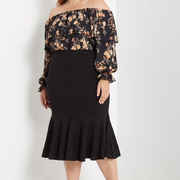 Black Senorita Midi Skirt Plus Size
