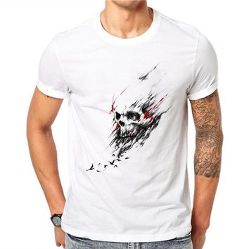 100% Cotton Men T Shirt Bird Skull Design Short Sleeve Casual