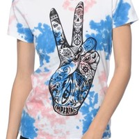 Imperial Motion Peace Hand Cotton Candy Tie Dye T-Shirt