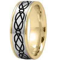 Wedding Band - Celtic Mens Ring with Black Rhodium in Two Tone Gold