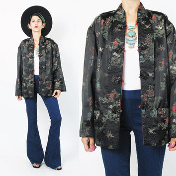 Vintage Chinese Jacket Reversible Jacket Embroidered Quilted Asian Jacket Red Black Satin Jacket Floral Birds Asian Coat Outerwear (M)