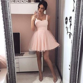 Straps High Waist Mesh Patchwork Women Short Party Dress