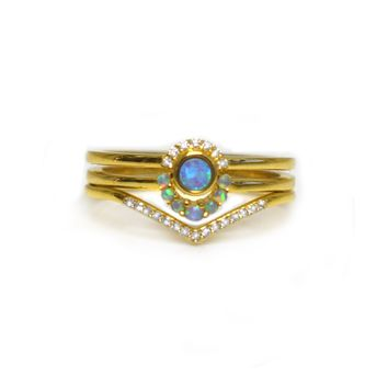Blue Opal & Diamond Cutie Pie Ring Set