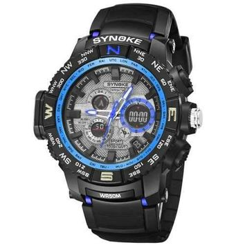 SYNOKE 4724 Casual Fashion Luminous Alarm Clock Calendar Men Watch with Box - Blue