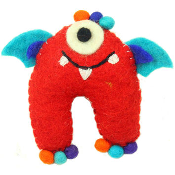 Hand Felted One-Eyed Red Tooth Monster with Wings - Global Groove