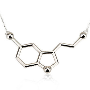 Serotonin Necklace, Serotonin Molecule Necklace, Chemistry Necklace - 925 Sterling Silver