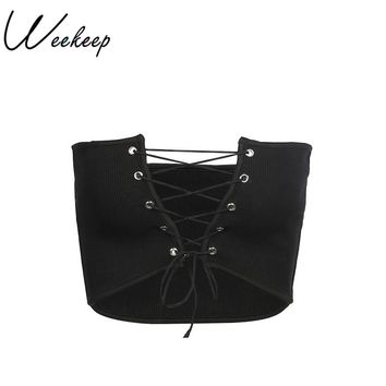 Weekeep Sexy Hollow Out Bandage Adjust Tube Top Women Black Cropped 2018 Summer Bandeau Lace Up Strapless Wrap Crop top