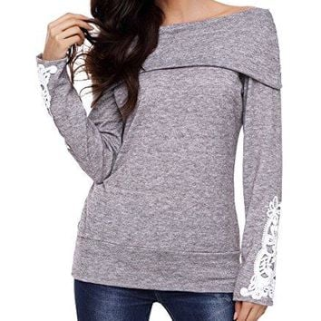 TINHAO Womens Off Shoulder Cowl Neck Lace Crochet Long Sleeve Blouse Tunic Top