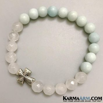 COURAGE: Amazonite | White Jade | Cross | Yoga Chakra Bracelet