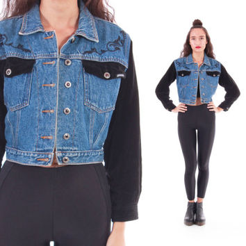 90s Jordache Cropped Denim and Black Velvet Blue Jean Jacket Hipster Clothing 1990's Vintage Outerwear Womens Size Small