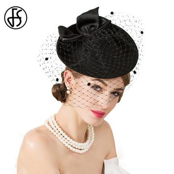 FS Lady Brand Vintage Black Wool Pillbox Hat With Veil Wedding Party Fascinator Hats For Women Chapeau Pour Mariage